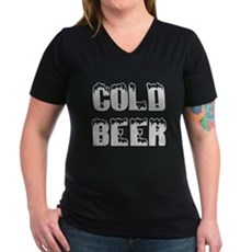 Cold Beer Womens V-Neck T-Shirt