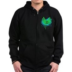 Peace and Love Zip Dark Hoodie