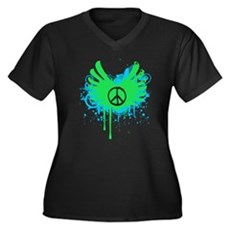 Peace and Love Womens Plus Size V-Neck Dark T-Shi