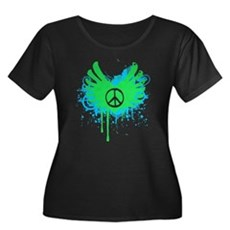 Peace and Love Womens Plus Size Scoop Neck Dark T
