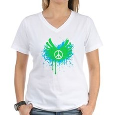 Peace and Love Womens V-Neck T-Shirt
