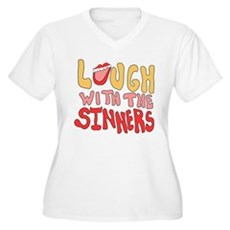 Laugh With The Sinners Womens Plus Size V-Neck T-