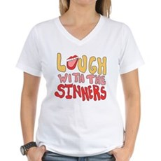 Laugh With The Sinners Womens V-Neck T-Shirt