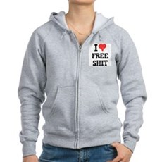 I Love Free Shit Womens Zip Hoodie