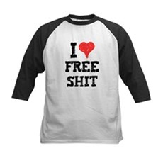 I Love Free Shit Kids Baseball Jersey