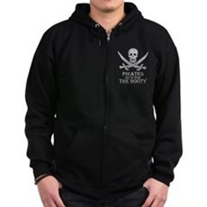 Pirates Do It For The Booty Zip Dark Hoodie