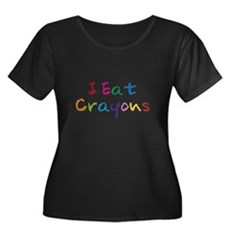 I Eat Crayons Womens Plus Size Scoop Neck Dark T-
