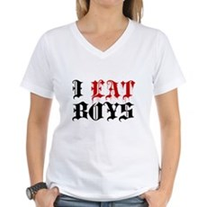 I Eat Boys Womens V-Neck T-Shirt