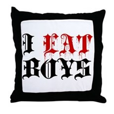 I Eat Boys Throw Pillow