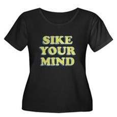 Sike Your Mind Womens Plus Size Scoop Neck Dark T