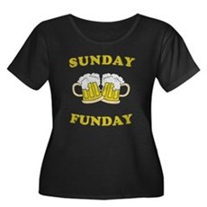 Sunday Funday Womens Plus Size Scoop Neck Dark T-