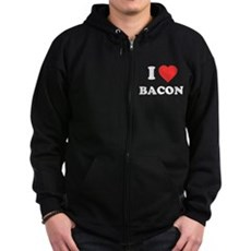 I Love Bacon Zip Dark Hoodie