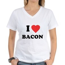 I Love Bacon Womens V-Neck T-Shirt