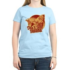 Don't Stop Believing in Santa Womens Light T-Shir