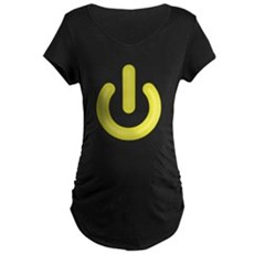 Yellow Power Button Maternity T-Shirt