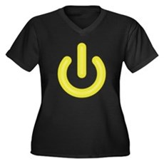 Yellow Power Button Womens Plus Size V-Neck Dark