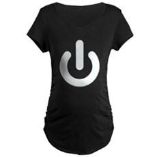 White Power Button Maternity T-Shirt