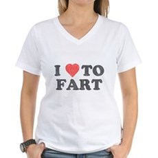 I Love To Fart Womens V-Neck T-Shirt