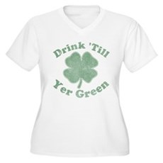 Drink 'Till Yer Green Womens Plus Size V-Neck T-S