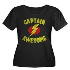 Captain Awesome Womens Plus Size Scoop Neck Dark