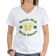 Drinks Well With Others Womens V-Neck T-Shirt