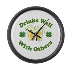 Drinks Well With Others Large Wall Clock