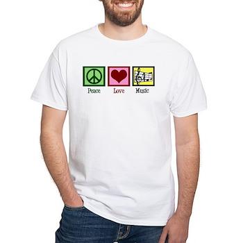 Peace Love Music White T-Shirt