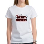 Wesley Crushers Women's T-Shirt - Be a part of the best bowling team for geeks - The Wesley Crushers! This merchandise will make a bang with your friends. A big one. In theory. - Availble Sizes:Small,Medium,Large,X-Large,2X-Large (+$3.00) - Availble Colors: White