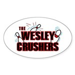 Wesley Crushers Sticker (Oval 50 pk) - Be a part of the best bowling team for geeks - The Wesley Crushers! This merchandise will make a bang with your friends. A big one. In theory. - Availble Colors: White,Clear