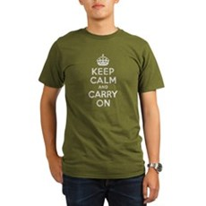 Keep Calm and Carry On Organic Mens Dark T-Shirt