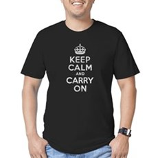 Keep Calm and Carry On Mens Fitted Dark T-Shirt