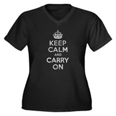 Keep Calm and Carry On Womens Plus Size V-Neck Da