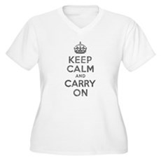 Keep Calm and Carry On Womens Plus Size V-Neck T-