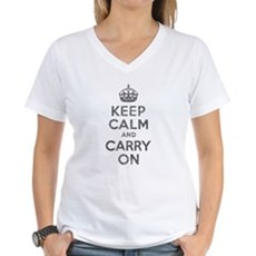 Keep Calm and Carry On Womens V-Neck T-Shirt