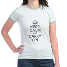 Keep Calm and Carry On Jr Ringer T-Shirt