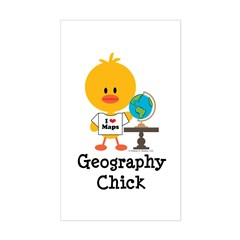 Geography Chick Sticker (Rectangle)
