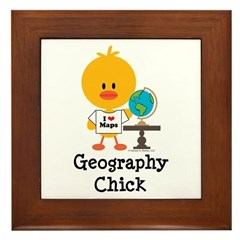 Geography Chick Framed Tile