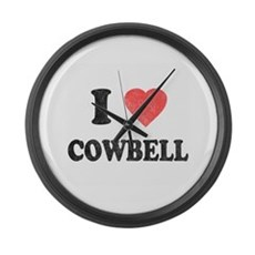 I Love [Heart] Cowbell Large Wall Clock