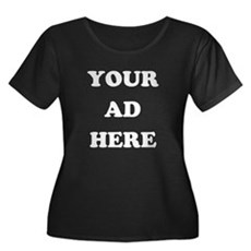 Your Ad Here Womens Plus Size Scoop Neck Dark T-S