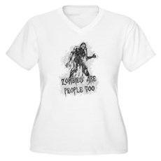 Zombies Are People Too Womens Plus Size V-Neck T-