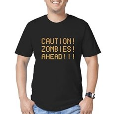 Caution Zombies Ahead Mens Fitted Dark T-Shirt