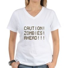 Caution Zombies Ahead Womens V-Neck T-Shirt