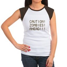 Caution Zombies Ahead Womens Cap Sleeve T-Shirt