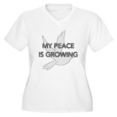 My Peace Is Growing Womens Plus Size V-Neck T-Shi