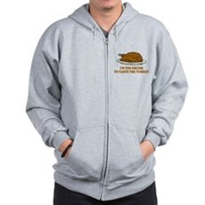 Too Drunk To Taste the Turkey Zip Hoodie