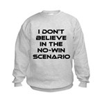 Classic Captain Kirk Quote Kids Sweatshirt - Classic James T Kirk quote! I don't believe in the no-win scenario. He said it about the Kobayashi Maru test. Awesome gift for the Star Trek fan! See all our Trekkie designs at Scarebaby dot com! - Availble Sizes:S (6-8),M (10-12),L (14-16) - Availble Colors: Ash Grey