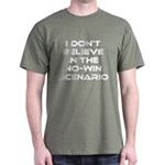 Classic Captain Kirk Quote Dark T-Shirt - Classic James T Kirk quote! I don't believe in the no-win scenario. He said it about the Kobayashi Maru test. Awesome gift for the Star Trek fan! See all our Trekkie designs at Scarebaby dot com! - Availble Sizes:Small,Medium,Large,X-Large,X-Large Tall (+$3.00),2X-Large (+$3.00),2X-Large Tall (+$3.00),3X-Large (+$3.00),3X-Large Tall (+$3.00) - Availble Colors: Black,Cardinal,Navy,Military Green,Red,Royal,Brown,Charcoal,Kelly Green,Green Camo