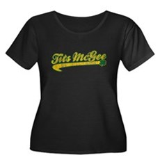 Tits McGee Womens Plus Size Scoop Neck Dark T-Shi