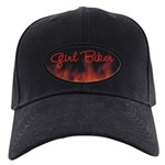 Girl Biker Flames Black Cap