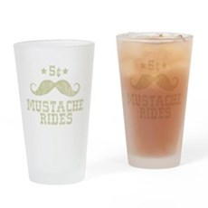 5¢ Mustache Rides Pint Glass